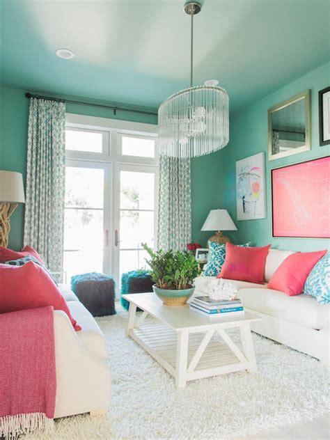 Turquoise Living Room And Kitchen Hgtv Home 2016