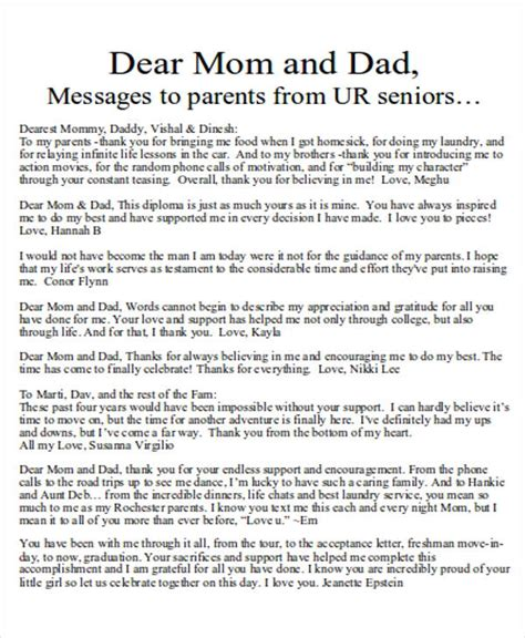 letter of appreciation to parents from child sle thank you letter to 5 exles in word pdf