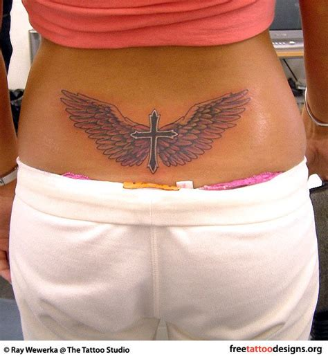 angel tattoo piercing cross and angel wings tattoos and piercings pinterest