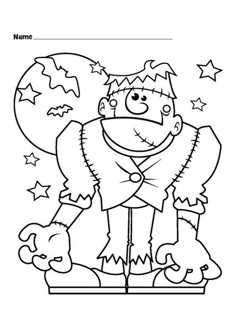 frankenstein coloring pages frankenstein and bats coloring page