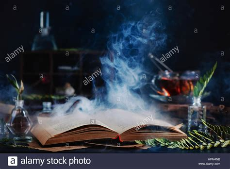 Still Has Magical by Still With Open Spell Book Magical Smoke Herbs