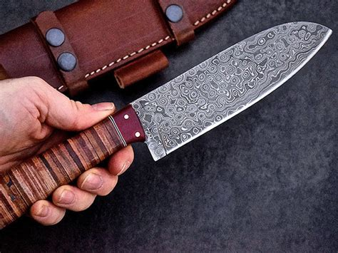 handmade japanese kitchen knives handmade raindrop damascus japanese santoku chef kitchen knife stacksocial