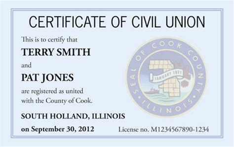 Marriage Records Cook County Illinois Cook County Ill Offering Wallet Sized Civil Union