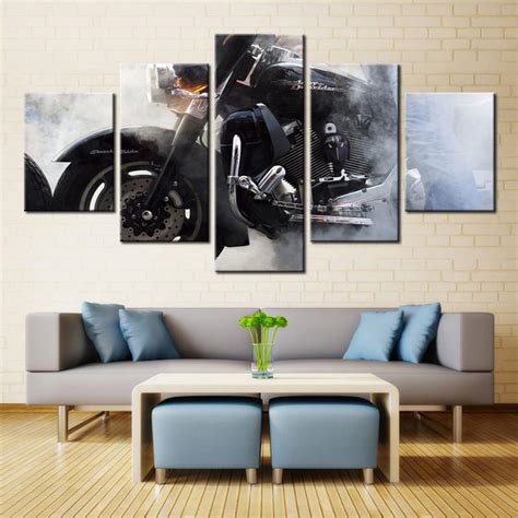 living room harley davidson living room interior design ideas harley davidson motorcycle smoke canvas print five piece