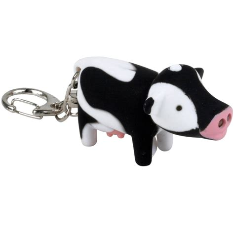 cow keychain led light cow key chain and led flashlight in key rings and chains