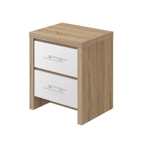 Mfi Bathroom Furniture Mfi Oak And White Gloss 2 Drawer Bedside Victoriaplum