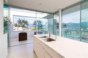 Beautiful House Interior View Of The Kitchen Minimalist Mountain Top Home Designed Around Panoramic