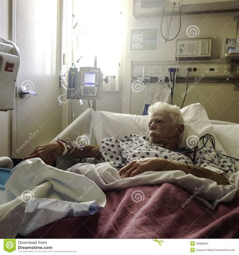 Elderly, White Haired Male Patient In Hospital Bed Stock Photo   Image: 45886684