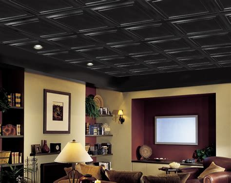 black drop ceiling shallow coffer black easy elegance coffered black 2 x 2 panel 1282blbxa by armstrong