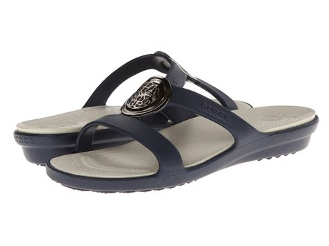 crocs sanrah sandal crocs sanrah circle embellishment sandal navy stucco
