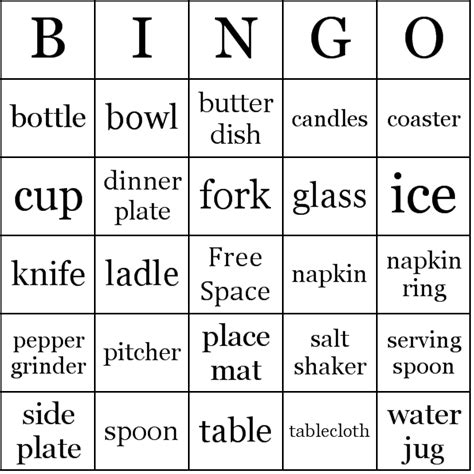 vocabulary bingo cards template dining table vocabulary bingo cards