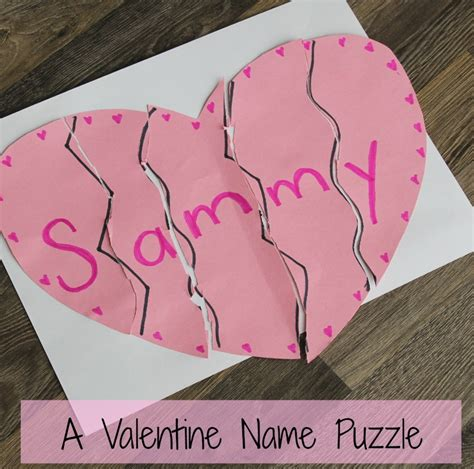 preschool valentines day a name puzzle preschool valentines day craft