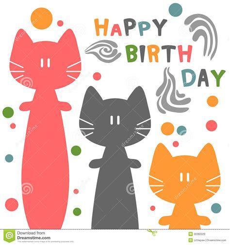 imagenes de happy birthday con gatos tarjeta de cumplea 241 os con los gatos ilustraci 243 n del vector