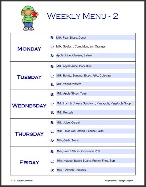 printable weekly menu template printable blank menu for daycares calendar template 2016