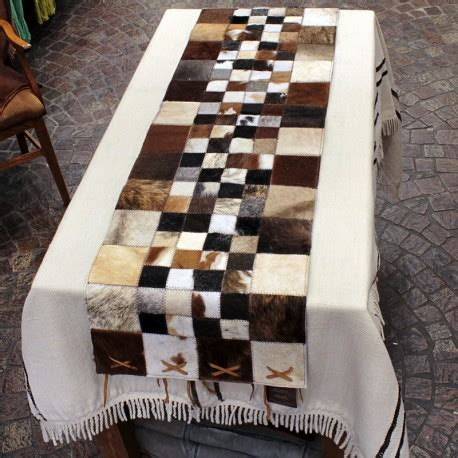 Cowhide Brown And White Table Runner Cowhide Table Runner
