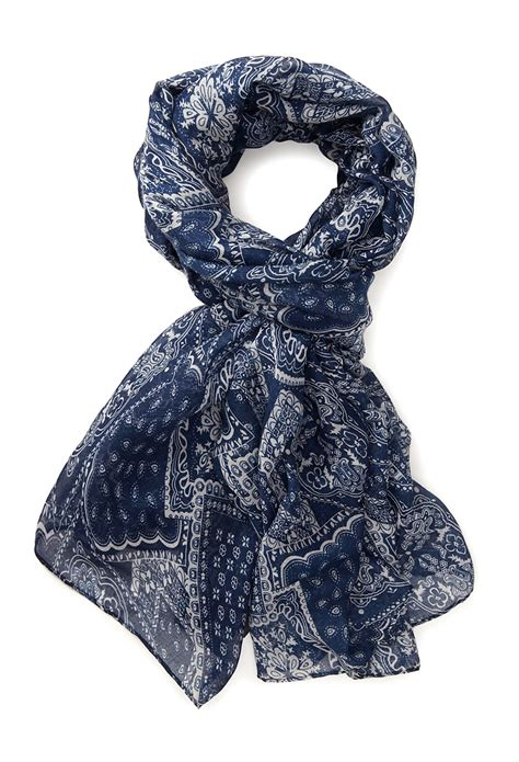 forever 21 cool bandana print scarf in blue navy