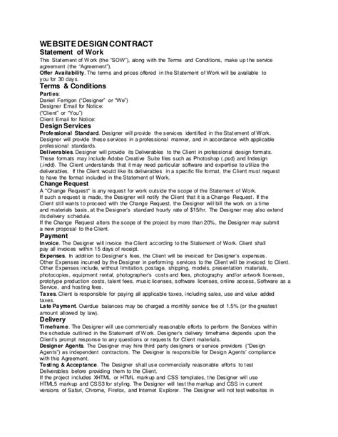 sample web design contract ferrigon media