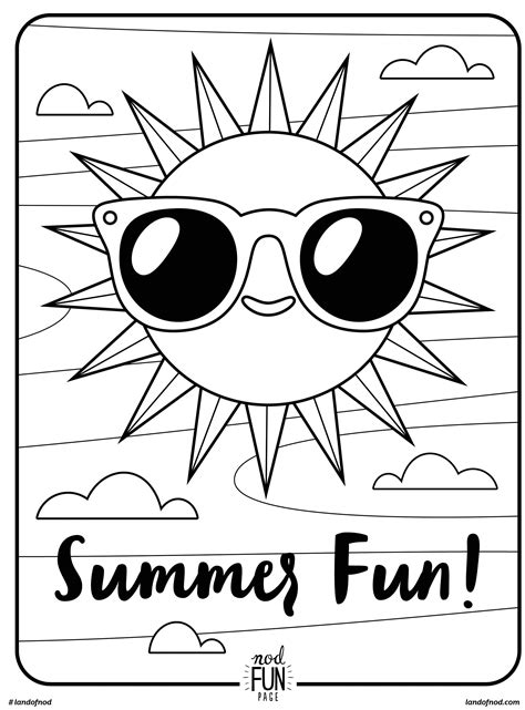 free printable coloring page summer fun honest to nod