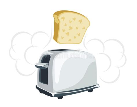 Time Toaster Cartoon Toaster With A Toast Stock Vector Illustration