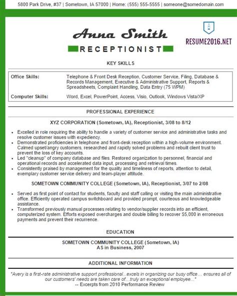 Patient Service Representative Resume Examples by Receptionist Resume Examples 2016