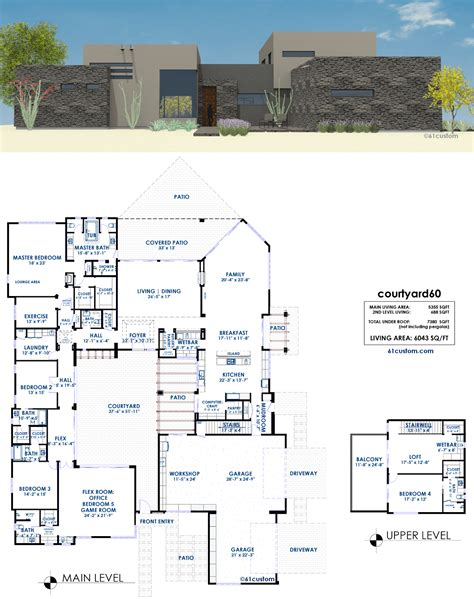 modern house plans with courtyard courtyard60 luxury modern courtyard house plan