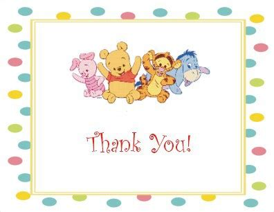 baby winnie the pooh friends baby pooh friends thank you card
