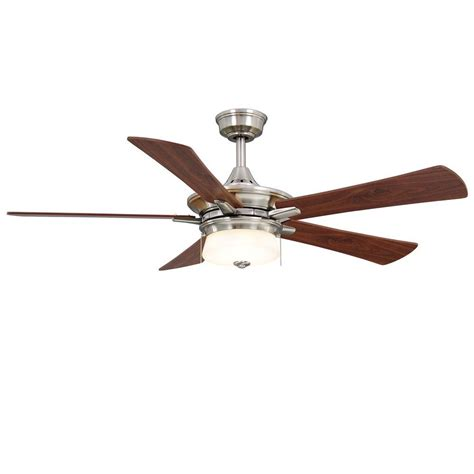 hton bay brushed nickel ceiling fan hton bay winthrop 52 in indoor brushed nickel ceiling