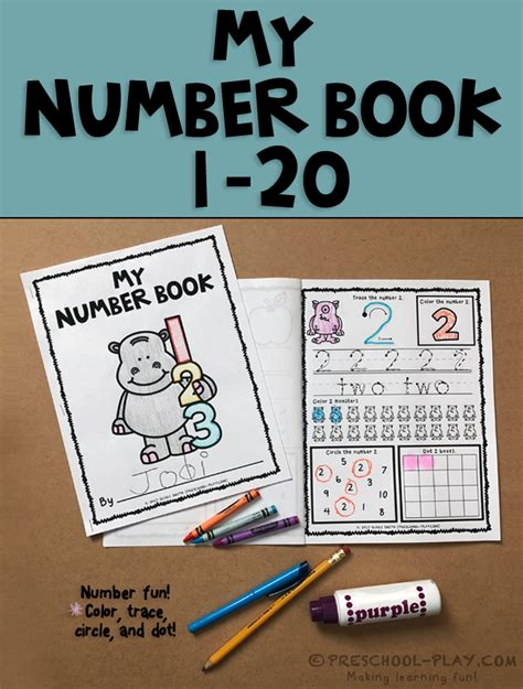 printable numbers book preschool play learning through play