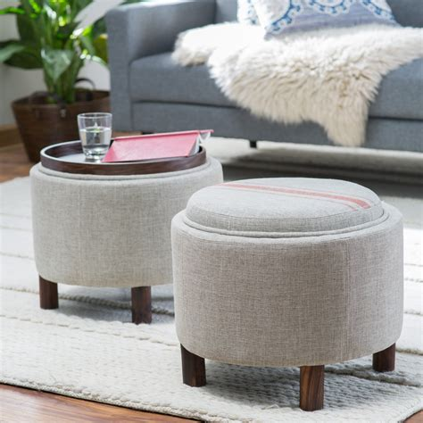 round ottoman with tray belham living ingram round storage ottoman with cocktail