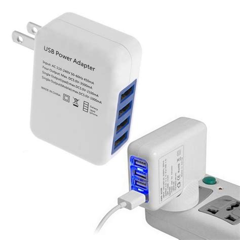 3 In 1 Travel Charger 2 1a 2 1a 4 ports usb portable home travel wall charger us