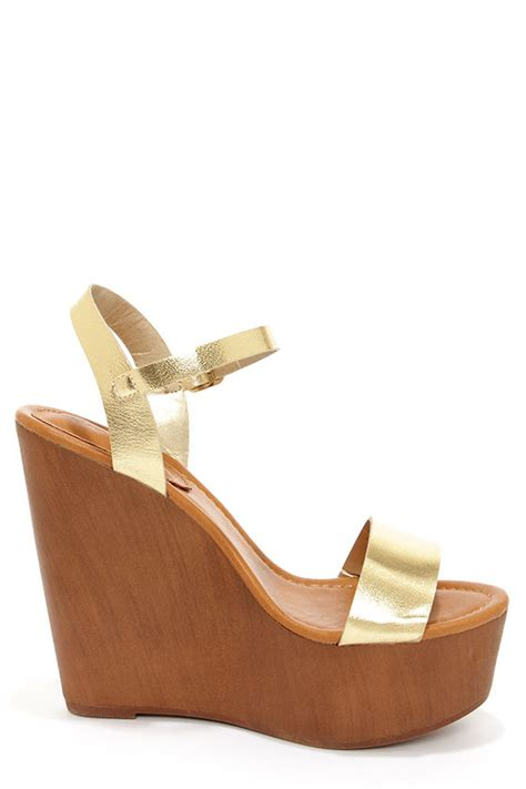 Wedges Emilly platform wedges gold shoes wedges sandals 30 00