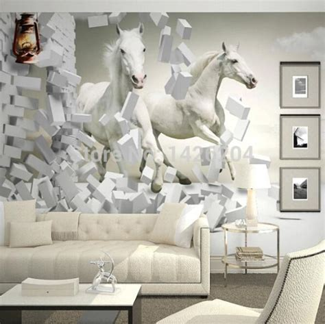wallpaper for walls for sale wholesale 3d white horse wall murals wallpaper 3d horse