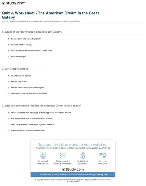 biography in context login quiz worksheet the american dream in the great gatsby