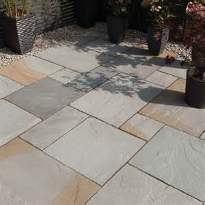 Laying Patio Stones Blended Natural Sandstone Paving Bradstone Simply Paving