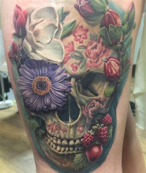 skull with flowers tattoo skull flowers pictures to pin on tattooskid