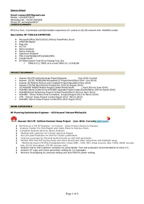Lte Tester Sle Resume by Usman Ghani Resume Lte