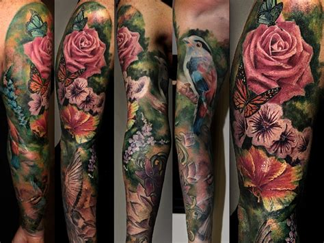 colored arm tattoo designs ideas flower sleeve tattoofanblog