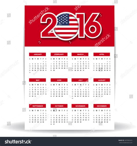 Calendar 2016 Usa 2016 Calendar United States Of America Usa Country Flag