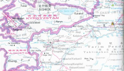 travel map directions map of xinjiang province china