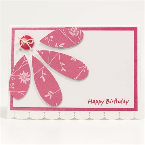Happy Birthday Handmade - paper happy birthday card handmade birthday card pink flower