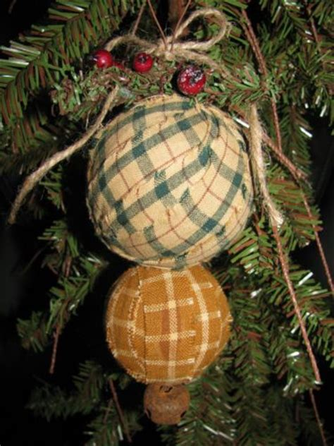 Handmade Country Ornaments - primitive country homespun rag tree
