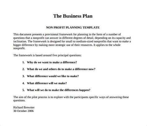 non profit business plan template 21 free word pdf