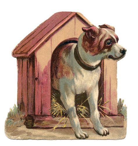 Vintage Clip Art   Dog in Dog House   The Graphics Fairy