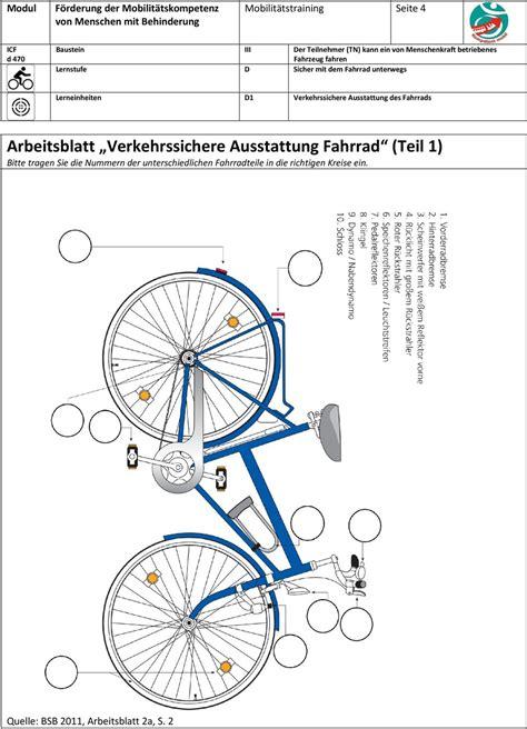 Beschriftung Verkehrssicheres Fahrrad by Sicher Mit Dem Fahrrad Unterwegs Pdf