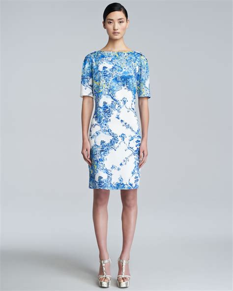 Dress In erdem bethany printed shortsleeve dress in blue lyst