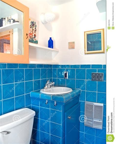 Turquoise Tile Work In A Bathroom Stock Image   Image: 6657919