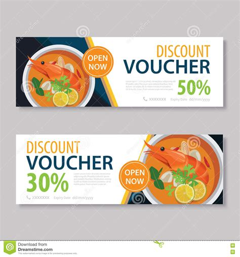 Discount Voucher Template With Thai Food Flat Design Stock