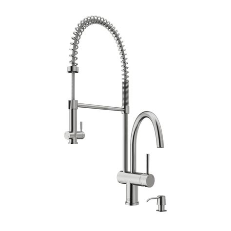 vigo single handle pull sprayer kitchen faucet with soap dispenser in stainless steel