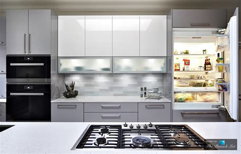 Gray Backsplash Kitchen clean seamless and serene modern high gloss kitchen