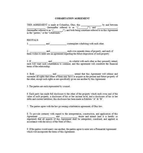cohabitation agreement   templates forms